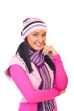 Young woman in warm pink clothes. Young smiling woman in warm pink clothes isolated on white background Stock Images
