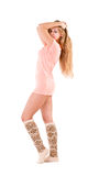 Young woman in a warm socks Royalty Free Stock Photo