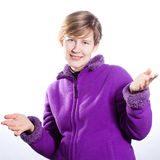 Young woman in a warm violet sweater Royalty Free Stock Images