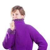 Young woman in a warm violet sweater Royalty Free Stock Photo