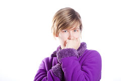 Young woman in a warm violet sweater Stock Images