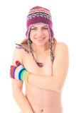 Young woman in warm winter cap and gloves Royalty Free Stock Image