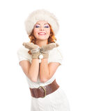 A young woman in warm winter clothes on white Royalty Free Stock Photo