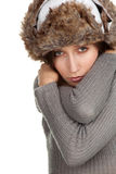 Young woman in warm winter hat Stock Photos