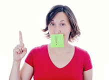 Young woman warn with finger gesture Stock Images