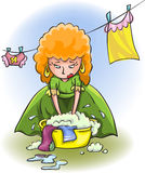 Young woman washes clothes Stock Photography