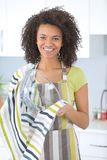 Young woman washing dish in kitchen Royalty Free Stock Photos