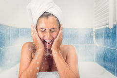 Young Woman Washing The Face Stock Photography