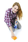 Young woman washing floor Stock Photography