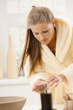 Young woman washing hands Royalty Free Stock Photos