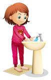 A young woman washing her face stock illustration