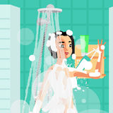 Young woman washing herself with a sponge in the shower Stock Image