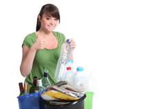Young woman waste sorting. To save the environment Stock Image