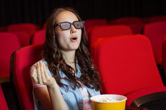 Young woman watching a 3d film Stock Photos
