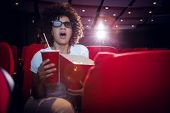 Young woman watching a 3d film Royalty Free Stock Photo