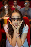 Young woman watching a 3d film Stock Photography