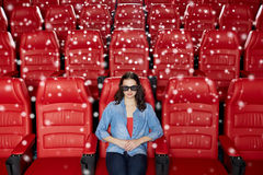 Young woman watching movie in 3d theater Stock Photography