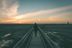 Young woman watching sunrise on a wooden boardwalk with bird wat. Ch tower in early morning with colorful nature - vintage green look Stock Photos