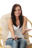 Young woman watching TV Stock Photography