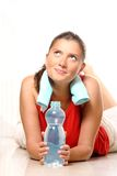 Young woman with water Stock Images