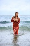 Young Woman in the water Royalty Free Stock Image