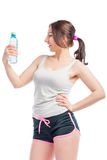 Young woman with a water bottle Royalty Free Stock Images