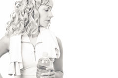 Young woman with a water bottle after workout Stock Image