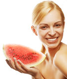 Young woman with  water melon Royalty Free Stock Photography