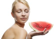 Young woman with  water melon Stock Photography
