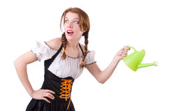 Young woman with watering can isolated Royalty Free Stock Photography