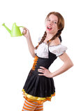 Young woman with watering can isolated Stock Photography