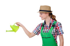 Young woman with watering can Royalty Free Stock Photos