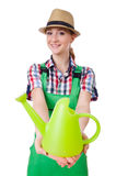 Young woman with watering can Stock Image