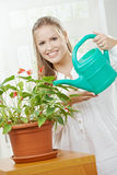 Young Woman Watering Plant Stock Photography
