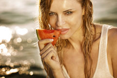 Young woman with watermelon. Stock Photo
