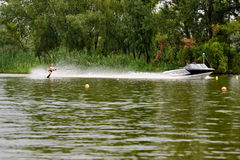 Young woman waterskiing Stock Photo