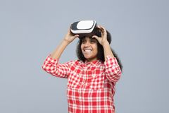 Young Woman Wear Virtual Reality Digital Glasses African American Girl Happy Smile Stock Photography