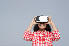 Young Woman Wear Virtual Reality Digital Glasses African American Girl Happy Smile Stock Images