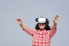 Young Woman Wear Virtual Reality Digital Glasses African American Girl Happy Smile Stock Photo