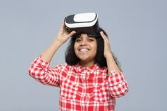 Young Woman Wear Virtual Reality Digital Glasses African American Girl Happy Smile Royalty Free Stock Photography