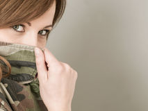 Young Woman Wearing an Army or Military Camouflage Jacket Peerin Stock Photo