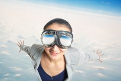 Young woman wearing in  aviator goggles Stock Photo