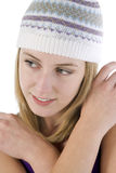 Young woman wearing a beanie style hat Royalty Free Stock Photo