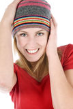 Young woman wearing a beanie style hat Stock Photo
