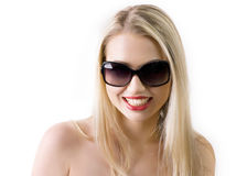 Young woman wearing the big modern sunglasses. Stock Photos