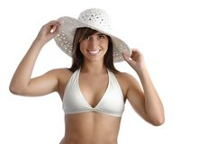 Young woman wearing bikini stock images