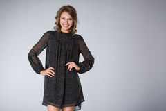 Young woman wearing black dress Royalty Free Stock Photo