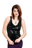 Young woman wearing black sequin top Royalty Free Stock Photos