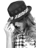 Young Woman Wearing a Black Tilbury Straw Hat Stock Photography