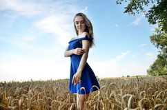 Young woman wearing blue dress in field Royalty Free Stock Images